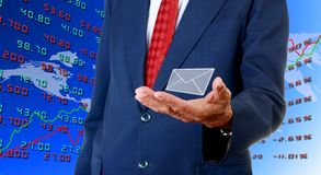 Senior businessman carry email from stock exchange Stock Photography