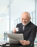 Senior businessman on coffee break Stock Photo