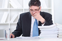 Senior businessman concentrate on work. In office Royalty Free Stock Image