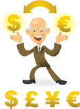 Senior Businessman Doing Currency Exchange Royalty Free Stock Image