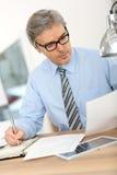 Senior businessman doing paperwork Royalty Free Stock Photo