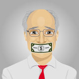 Senior businessman with dollar bill taped to mouth. Bribery concept in politics, business, diplomacy. stock illustration