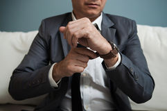 Senior businessman in grey suit Stock Photos