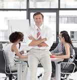 Senior Businessman leading team Royalty Free Stock Image