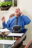 Businessman in office on phone royalty free stock images