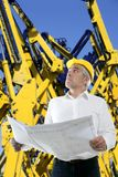 Senior businessman plan construction cranes Stock Photography