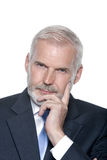 Senior businessman portrait thinking Stock Photos
