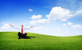 Senior businessman relaxing outdoor with Blue Sky Stock Photo