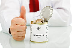 Senior businessman retiring with thumbs up sign Royalty Free Stock Photography