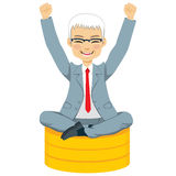 Senior Businessman Sitting Coins Royalty Free Stock Photos