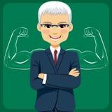 Senior Businessman Strong Arms Concept Stock Photo
