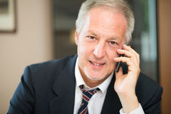 Senior businessman talking on the phone in his office. Portrait of a smiling senior businessman talking on the phone in his office Royalty Free Stock Photos