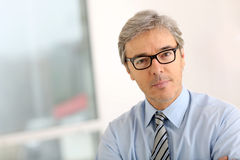 Senior businessman wearing eyeglasses Royalty Free Stock Photos