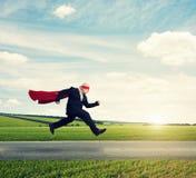 Senior businessman wearing like superhero Stock Image