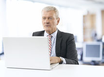 Senior businessman working on laptop Stock Photos