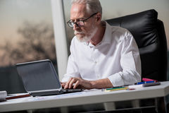 Senior businessman working on laptop in office, hard light Royalty Free Stock Images
