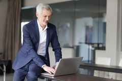 Senior businessman working on laptop Stock Photography