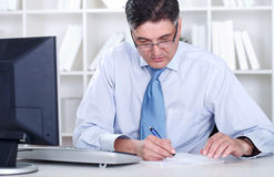 Senior businessman working in office Stock Images