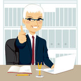 Senior Businessman Working At Office Stock Photos
