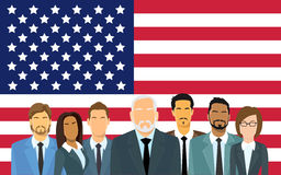 Senior Businessmen Group of Business People Team Over United States American Flag Royalty Free Stock Photos