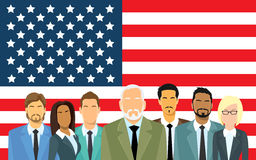 Senior Businessmen Group Business People Team Over United States American Flag Royalty Free Stock Image