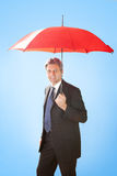 Senior businessmen holding a umbrella. Portrait of senior businessmen holding a umbrella. Insurance concept Stock Photography