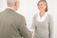Senior businesspeople handshake professional smile Stock Image