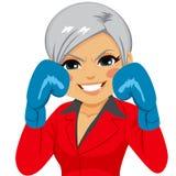 Senior Businesswoman Boxing Stock Image