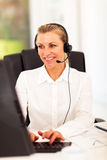 Senior businesswoman headphones Royalty Free Stock Images