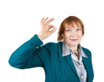 Senior businesswoman with OK Royalty Free Stock Image