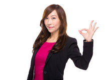 Senior businesswoman with ok sign Stock Images