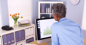 Senior businesswoman standing and working at computer Stock Photo