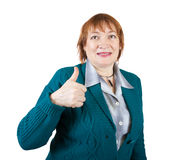 Senior businesswoman with thumb up Stock Photography