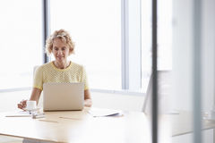 Senior Businesswoman Working On Laptop At Boardroom Table Stock Photography