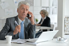 Senior busissman in the  office Royalty Free Stock Images