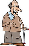 Senior with cane cartoon illustration Stock Images