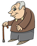 Senior with cane cartoon Royalty Free Stock Photos