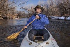 Senior canoe paddler Royalty Free Stock Images