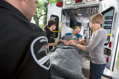 Senior Care Ambulance Emergency Stock Images