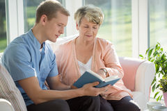 Senior care assistant stock photography