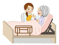 Senior care listening closely white background Stock Photo