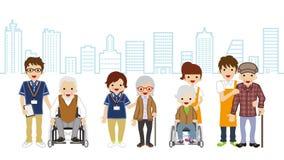 Senior Caregiver and elderly person Cityscape background Stock Photos