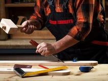 Senior carpenter working in his workshop Royalty Free Stock Photo