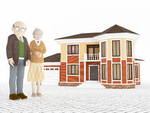 Senior cartoon couple standing in front of big house Royalty Free Stock Photo