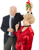 Senior Casanova with Mistletoe Royalty Free Stock Images