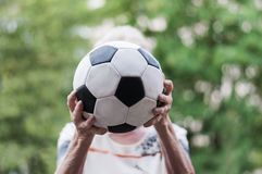 Senior catches Soccer Royalty Free Stock Photo