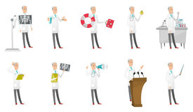 Senior caucasian doctor vector illustrations set. Senior caucasian doctor set. Paramedic with lifebuoy and first aid kit, nutritionist holding apple, doctor Royalty Free Stock Image