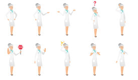 Senior caucasian doctor vector illustrations set. Senior caucasian doctor set. Doctor screaming, shaking finger, shrugging shoulders, looking at question Stock Photo