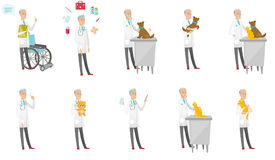 Senior caucasian doctor vector illustrations set. Stock Image