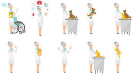 Senior caucasian doctor vector illustrations set. Stock Photos